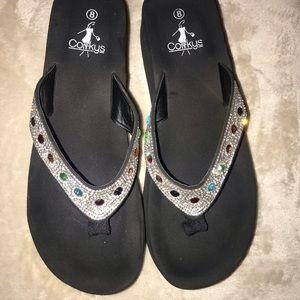Women's size 8 Corky's embellished flip flop